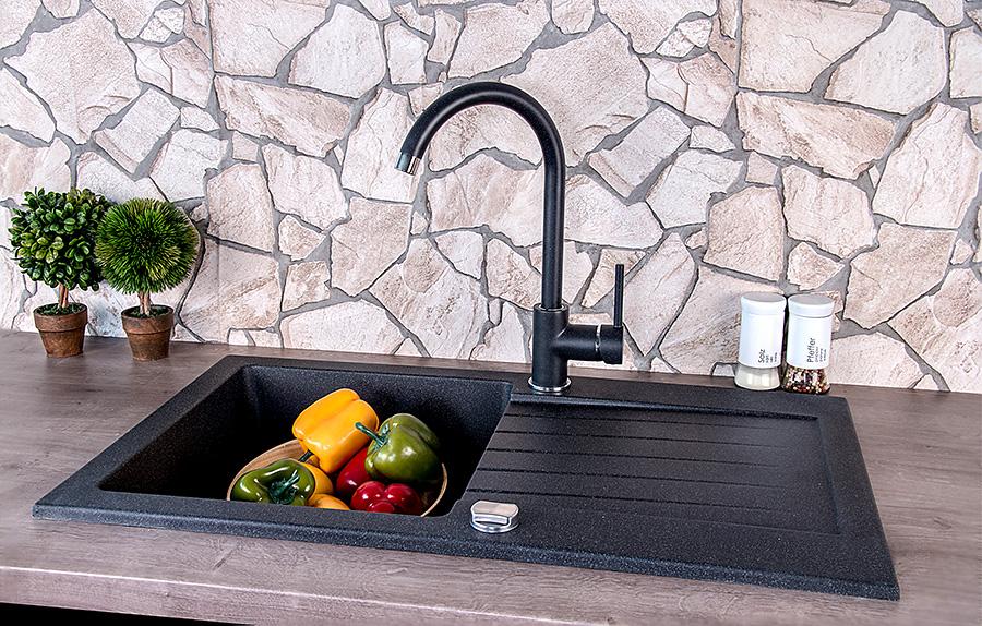 Granit Küchenspüle Einbauspüle Spüle + Armatur + Siphon Drehexcenter ...