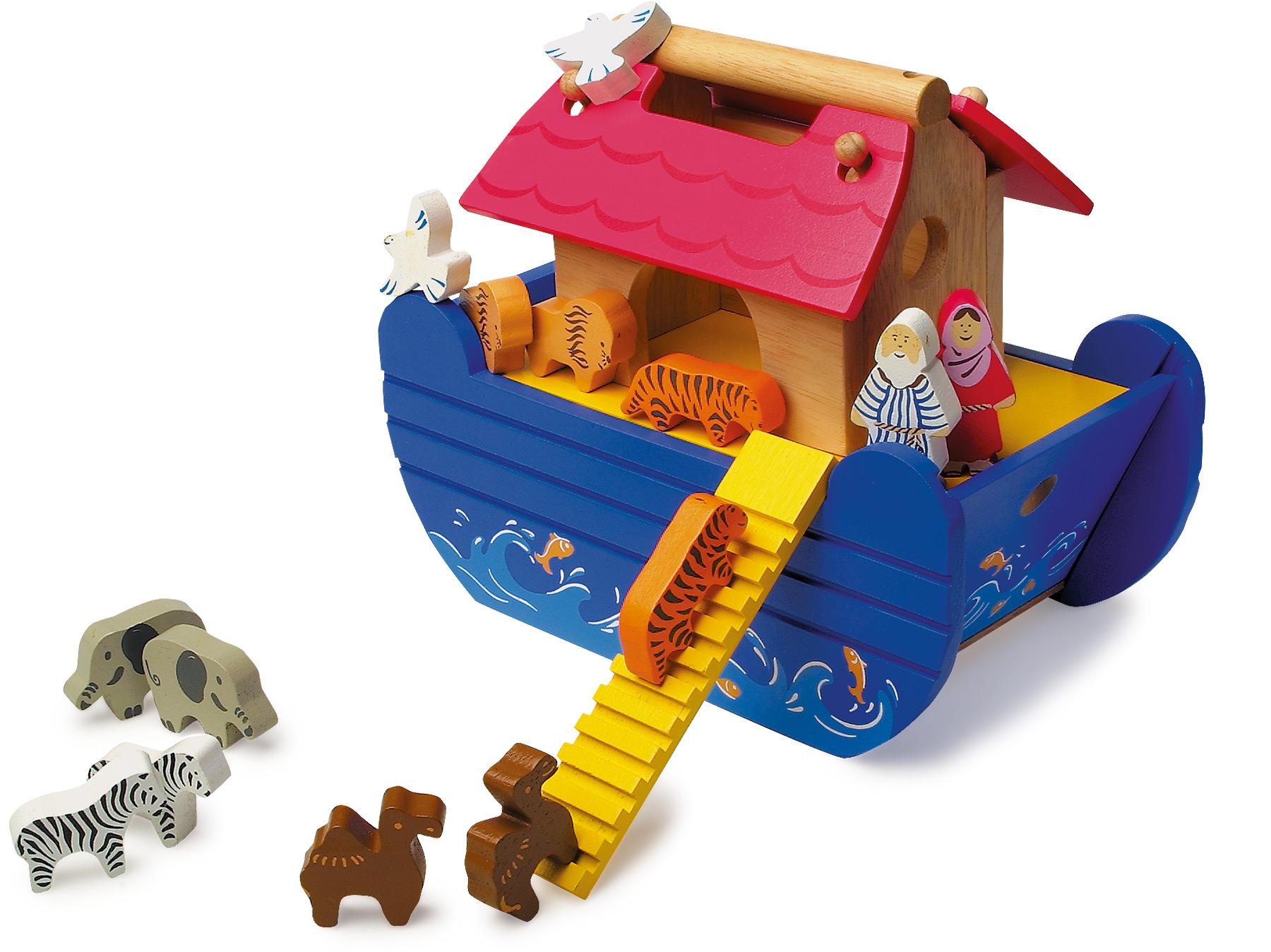 Noah's Ark of Wood Animals Figurines Play Figures Wooden ...