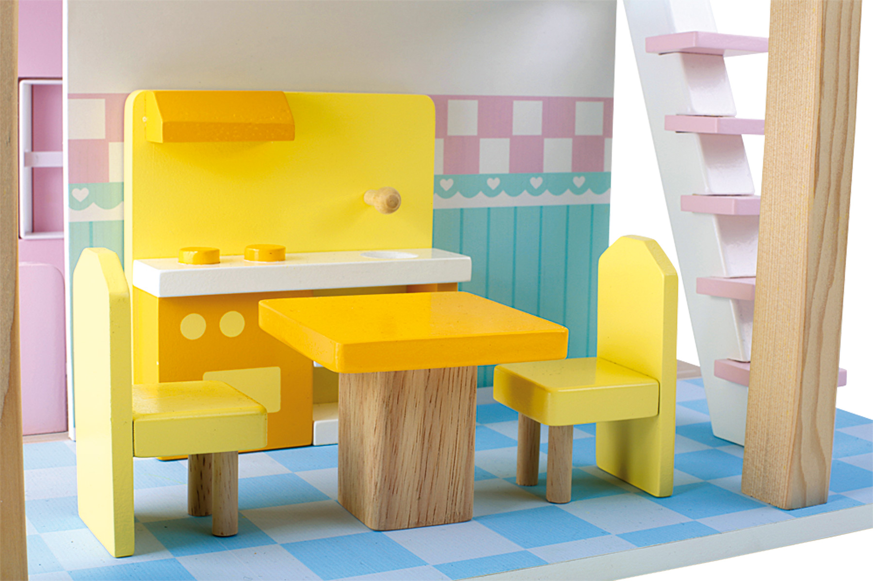 puppenhaus 2 etagen drehbar 15 m belst cke holz ab 3 jahre ca 42 x 39 x 50cm neu 4020972031105. Black Bedroom Furniture Sets. Home Design Ideas