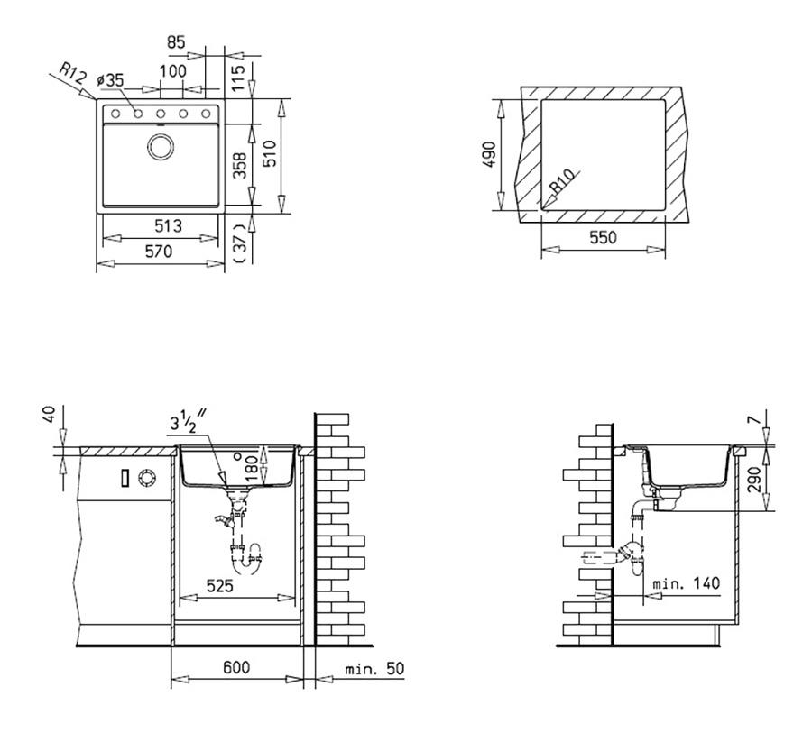 Teka Granit Einbauspüle Spüle Küchenspüle Küchen Becken Spülbecken + ...