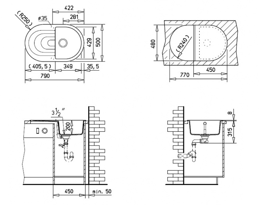Teka Granit Küchenspüle Einbauspüle Spüle + Siphon Küchen Becken ...